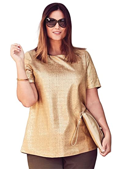 c9ead2aa9bd Jessica London Women s Plus Size Metallic Tee - Gold