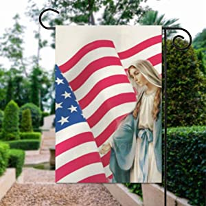 yyone Religious Virgin Mary Catholic American Flag Polyester Garden Flag House Banner 12 x 18 inch, Two Sided Welcome Yard Decoration Flag for Party, Home Decoration, Car