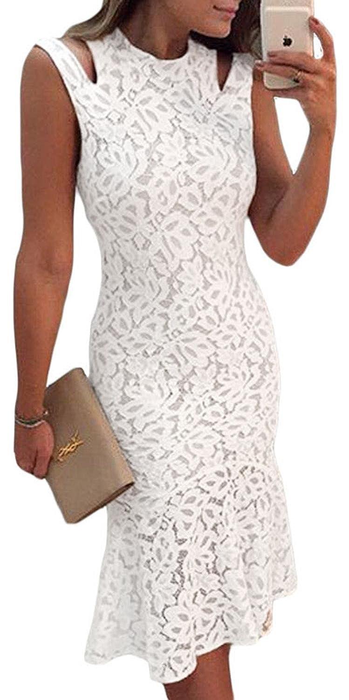 Fempool Woman Lace Creamy White Cutout Shoulder Sleeveless Mermaid Style Midi Dress