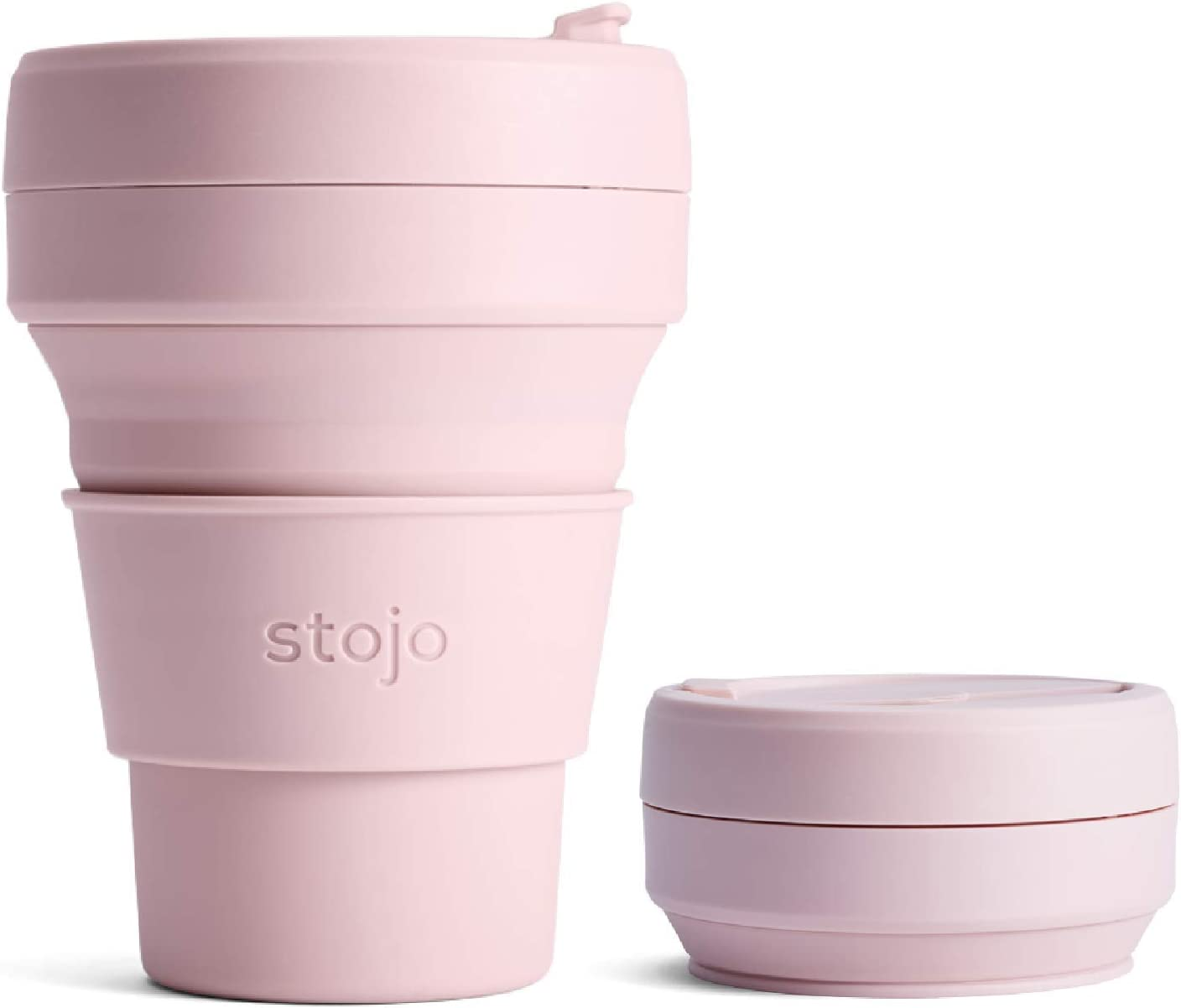 Stojo On The Go Coffee Cup | Mini Collapsible Silicone Travel Cup – Carnation Pink, 8oz / 236ml | No Straw Included