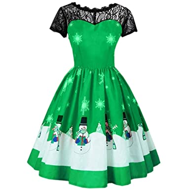 Women Xmas Dress 1950s Rockabilly Audrey Lace Short Sleeve Evening Party  Swing Dress Christmas Ball Gown 627b9a5379f0