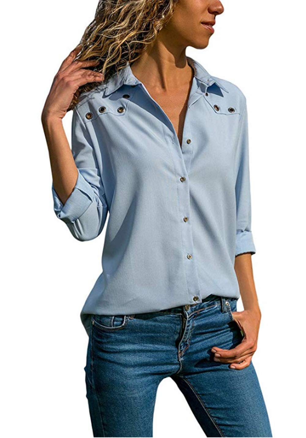 CAIYING Women's Solid Long Sleeves V Neck Button Down Shirts Blouses Tops