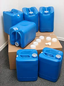 API Kirk Containers 5 Gallon Samson Stackers, Blue, 6 Pack (30 Gallons), Emergency Water Storage Kit - New! - Clean! - Boxed! Kit Includes one Bonus Spigot