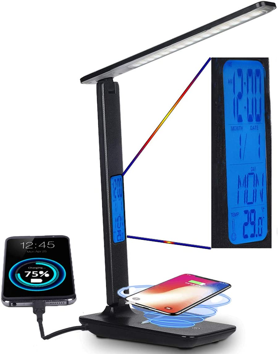 LED Desk Lamp with Wireless Charging, Dimmable, LCD Display,USB Charging Port, Adjustable Color Temperature, Eye Caring Tech Protection,Foldable Reading Light for Bedroom,Office