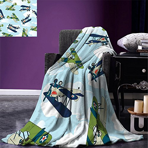 Airplane Decor Throw Blanket Vintage Allied Plane Flying Pattern Cartoon Children Kids Repeating Toys shark Teeth Warm Microfiber All Season Blanket for Bed or Couch