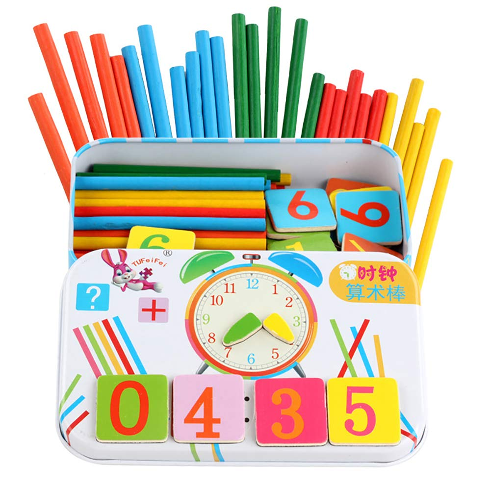 EAV-TOYS Wooden Magnetic Number Sticks Blocks Math Clock Learning Educational Kids Toy,Learning Games Early Child Development Toy for Learning