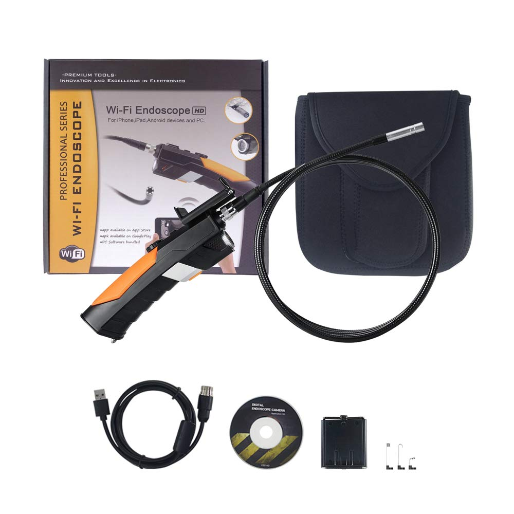 Anykit Wireless Endoscope Camera WiFi Inspection Camera with Phone Holder 2.0 Megapixel HD Endoscope iPhone /& Android device 6 LED Lights And 3 m Semi-rigid Waterproof Borescope for PC
