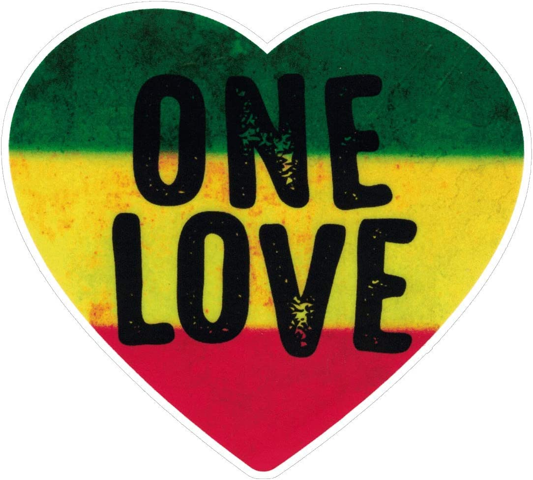 One Love Heart Reggae Rastafari Bob Marley Small Jamaican Bumper Sticker Hydro Bottle or Laptop Decal 3.5-by-4 Inches