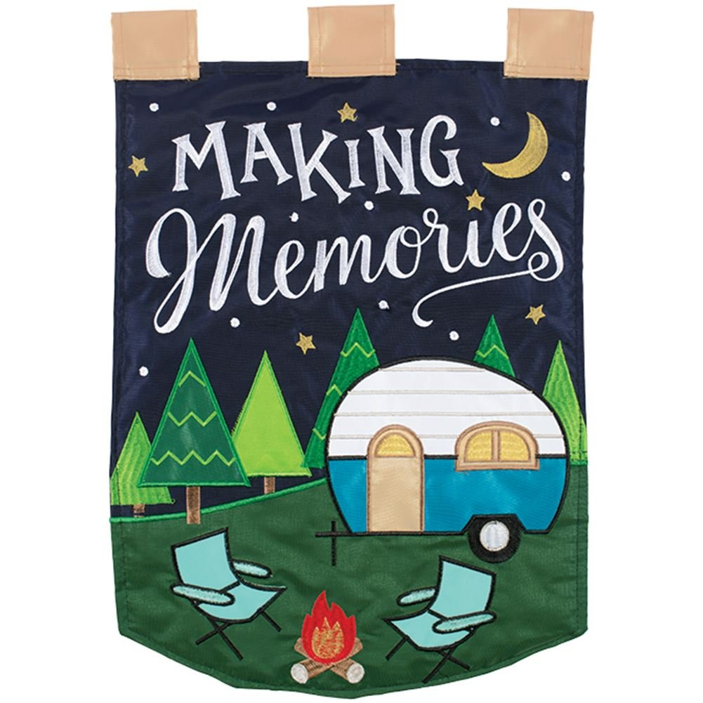 Carson Home Accents FlagTrends 55351 Making Memories Double Applique Outdoor Garden Flag with Metallic Thread