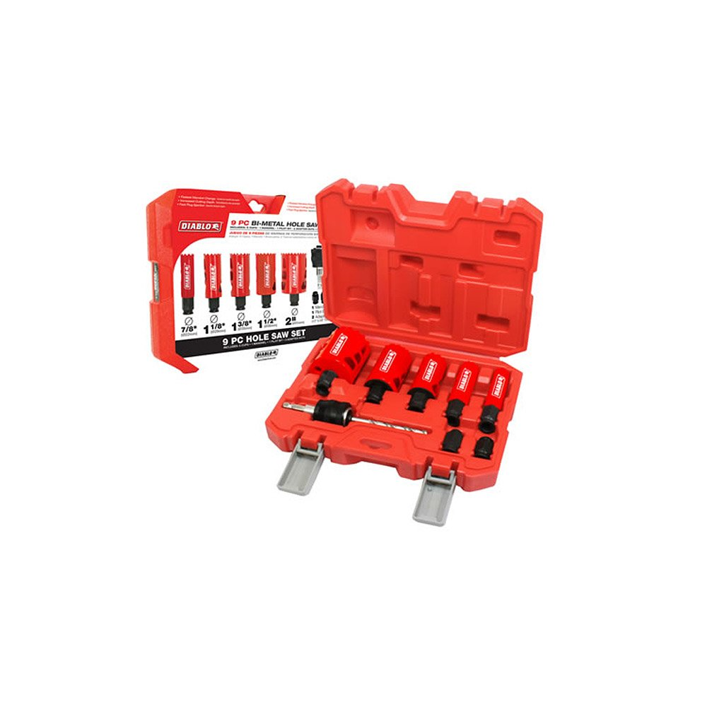 """Freud DHS09SGP Diablo 9 Piece High Performance Hole Saw Set For Drilling Wood, Plastic, Aluminum, Metal Stainless Steel, 7/8""""-2"""" Cutters"""