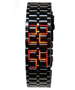 Mastop Men's Lava Black Stainless Steel Lava RED LED Digital Bracelet Watch