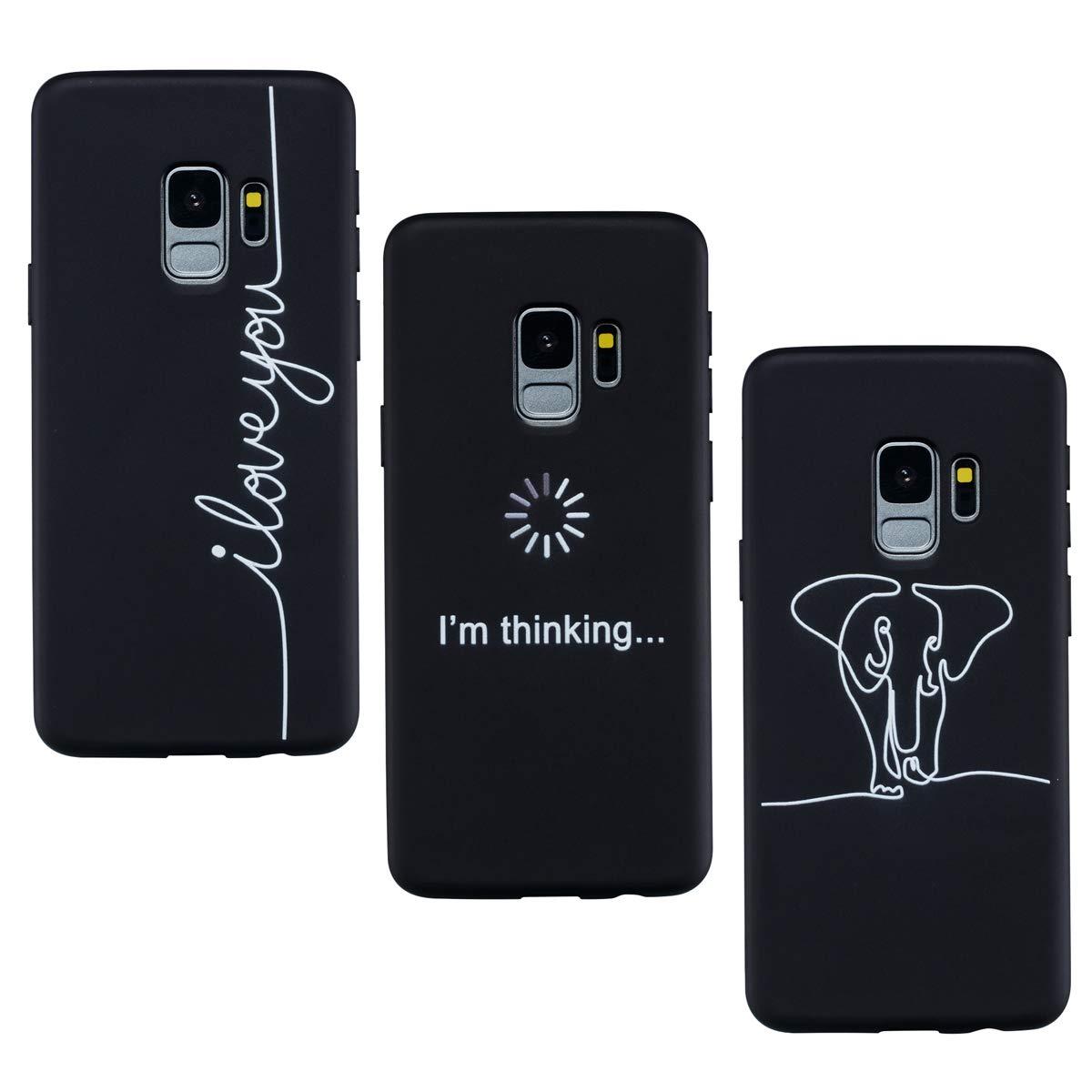 /él/éphant Pens/ée Amour ChoosEU 3X Coque Samsung Galaxy A8 2018 Silicone Bumper Souple Motif Swag Etui Soft /Étui Antichoc Fleur Design Mignon Ultra Fine Mince Slim Housse Case Protection