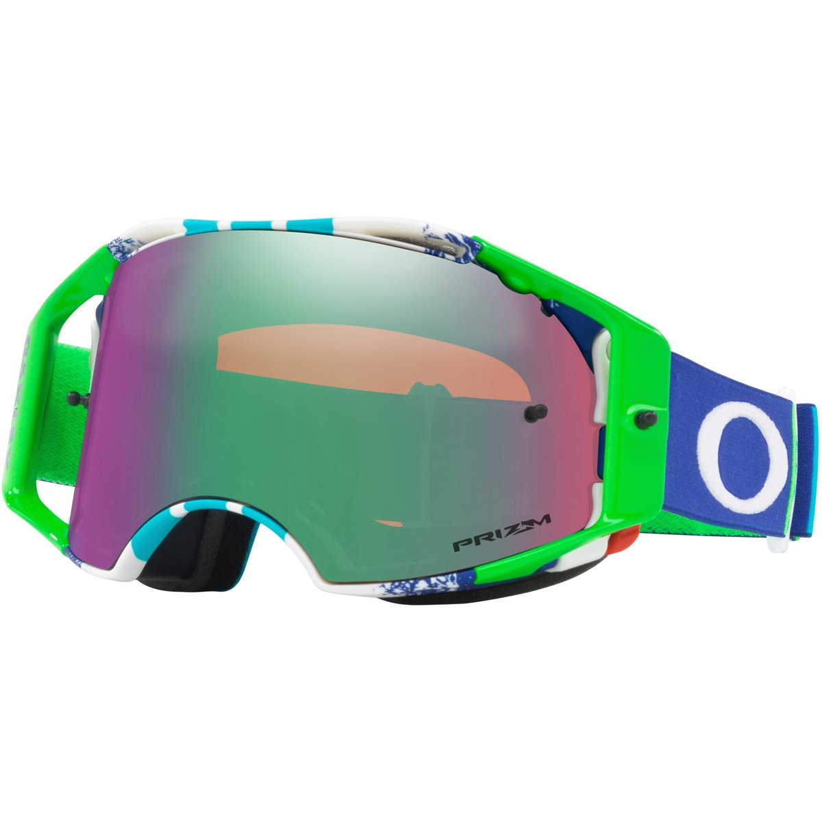 Oakley ABMX Pinned Race BlueGrn with Prizm MX Jade unisex-adult Goggles (Green, Medium), 1 Pack