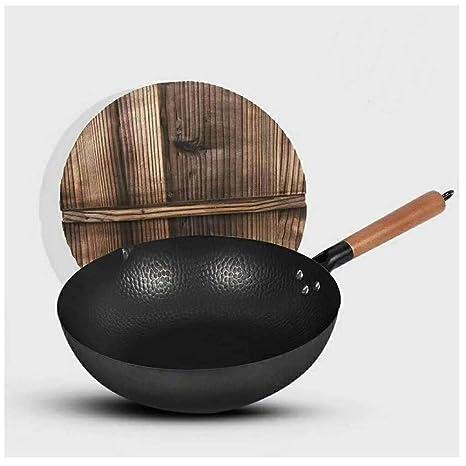 MoCa Factory House - Wok de hierro fundido con tapa de madera, 30,5