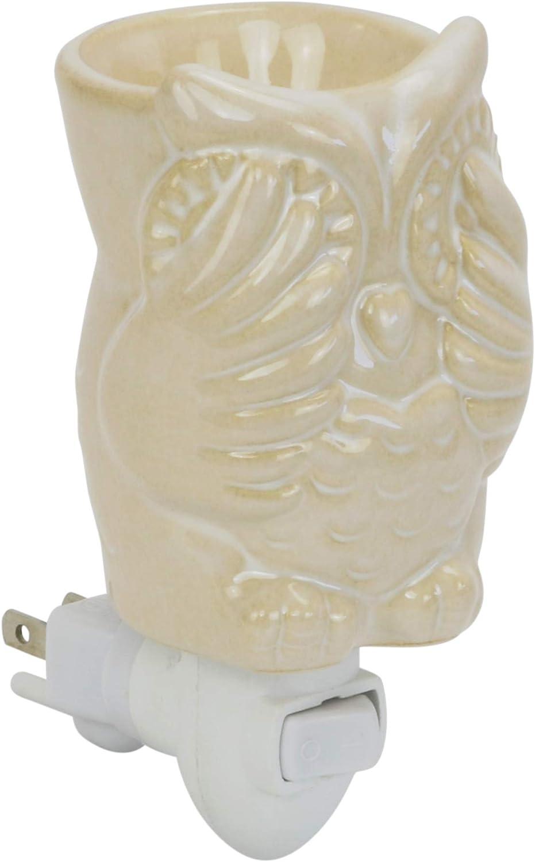 Iconikal Ceramic Wax Warmer Nightlight, Cream Colored Owl