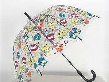 Paraguas Transparente de Mujer. Paraguas Automático de Mujer con Buhos.Divertido, Robusto con 8 Varillas.: Amazon.es: Deportes y aire libre