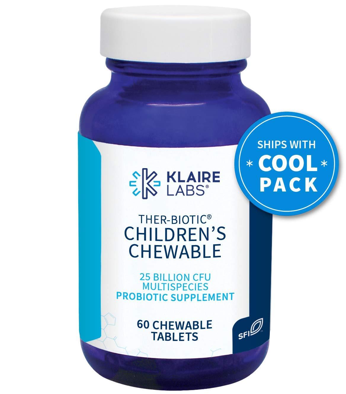 Klaire Labs Ther-Biotic Children's Chewable Probiotic - 25 Billion High CFU, The Original Hypoallergenic Probiotic for Kids with Lactobacillus & Bifidobacterium, Dairy-Free (60 Tablets)