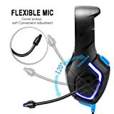 USB Headset PC Gaming for Games PS4 Xbox with 3.5mm Stereo LED Luminous Headphones Omnidirectional Microphone Volume Control for PC Laptop Mac Playstation 4