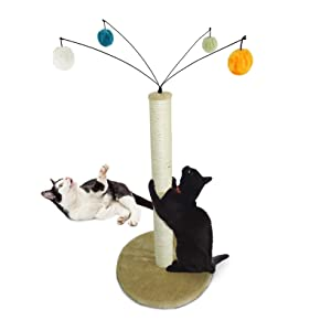 Furhaven Pet Cat Furniture - Tiger Tough Fuzz Ball Hanging Toy Cat Scratcher Post Entertainment Cat Tree Playground for Cats and Kittens, Cream