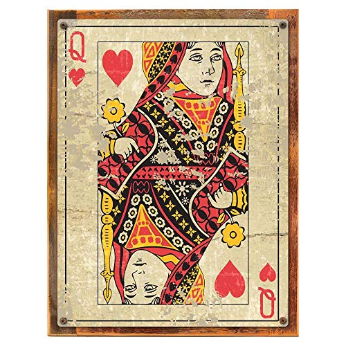 mdrqzdfh Imitation Wood Metal Sign Queen Playing Card Den Gameroom Mancave