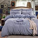 100% Cotton 4 Piece Bed Sheet Set Knitting Duvet Cover Flat Sheets Pillowcases Size Twin Full Queen for Upscale Hotel Blue Grey , grey , twin