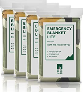 Bearhard Emergency Blankets Mylar Space Blankets 4-Pack Large Foil Thermal Survival Blankets for Camping Hiking or Outdoor Rescue