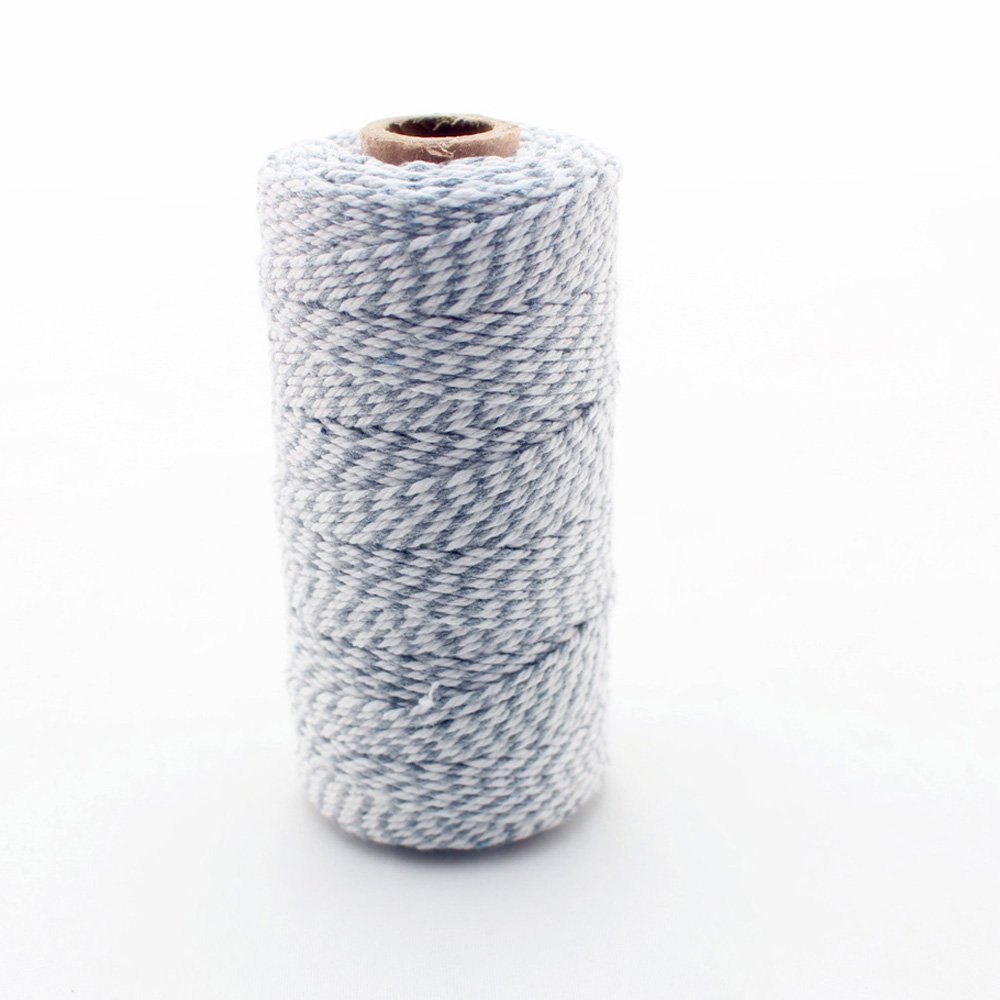 IPALMAY 100m Cotton Bakers Twine for Garden Twine or Gift Wrapping, Spool 3-Ply, Grey and White