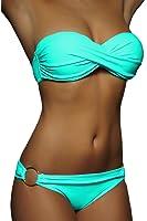 ALZORA Twist Push Up Bandeau Bikini Set Damen Pushup Badeanzug viele Farben und Größen