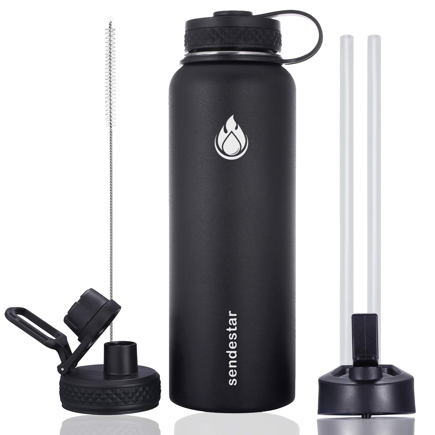 Sendestar 40 oz Double Wall Vacuum Insulated Leak Proof Stainless Steel Sports Water Bottle-Wide Mouth with Straw Lid & Flex Cap & Spout Lid (Black)