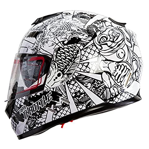 IV2 High Performance Full Face Dual Visor Motorcycle Helmet Gloss White/Black Sharpie Art