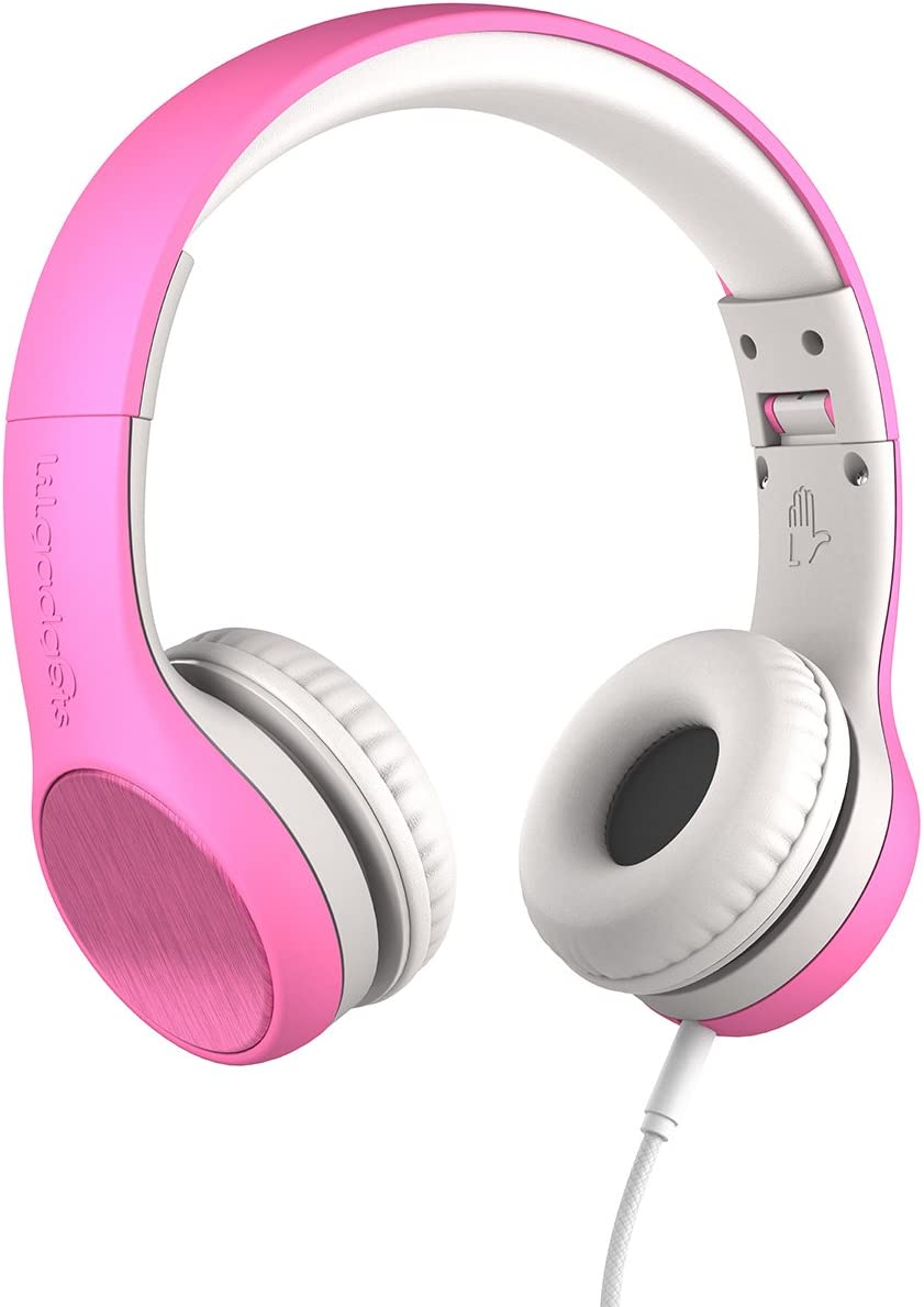 New LilGadgets Connect Style Kids Premium Volume Limited Wired Headphones with SharePort and Inline Microphone Children, Toddlers – Pink