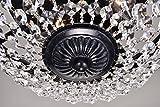 Edvivi 3-Lights Antique Black and Crystal Flush