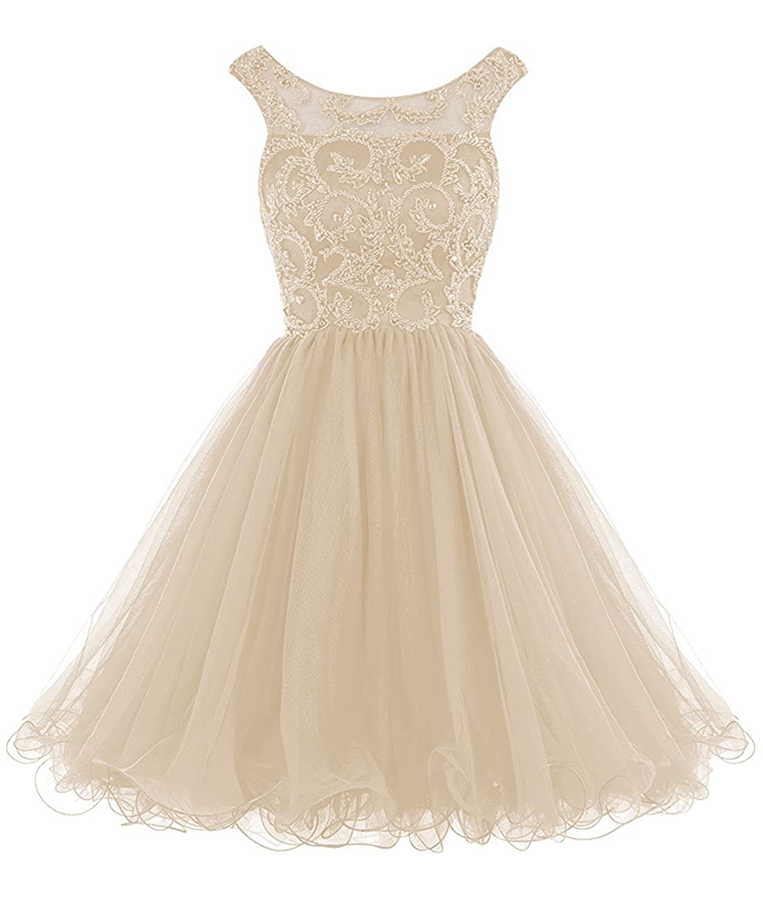 Champagne Caissen Women's Short Ball Gown Illusion Scoop Neck Beading Rhinestones Tulle Prom Dress V Back with Zipper Party Wear