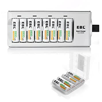 Amazon.com: EBL 12 Pack 2800 mAh AA pilas recargables con ...