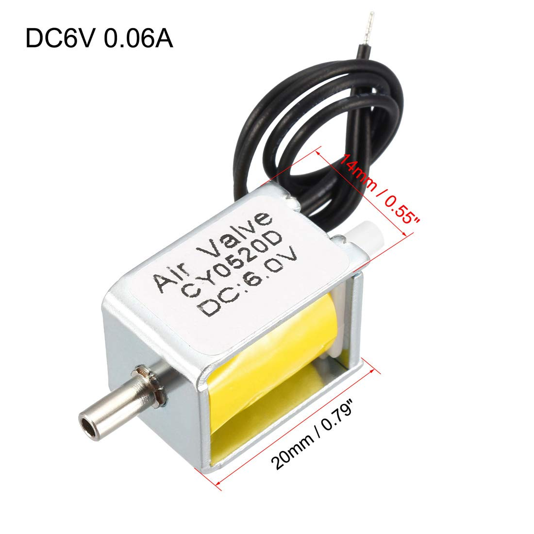 uxcell Miniature Solenoid Valve 2 Way Normally Opened DC6V 0.06A Air Solenoid Valve