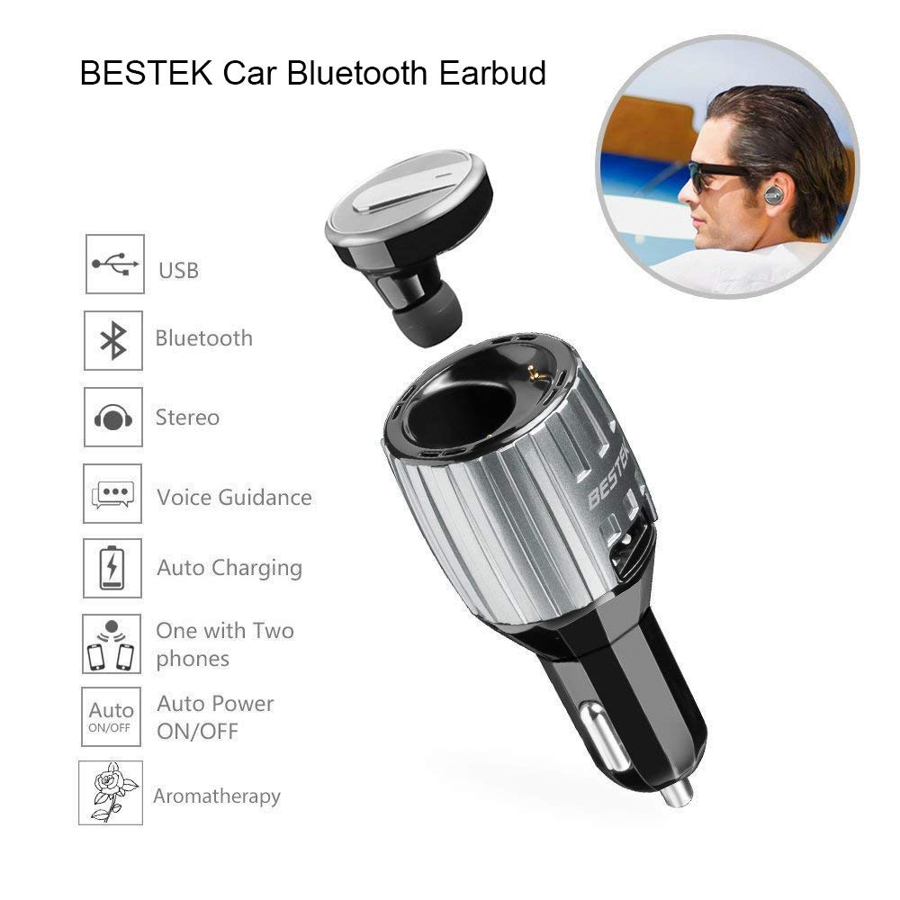BESTEK Car Power Inverter 300W DC 12V to AC 110V with 2 Outlets 2 USB Ports and Come with a Premium Car Bluetooth Earbud