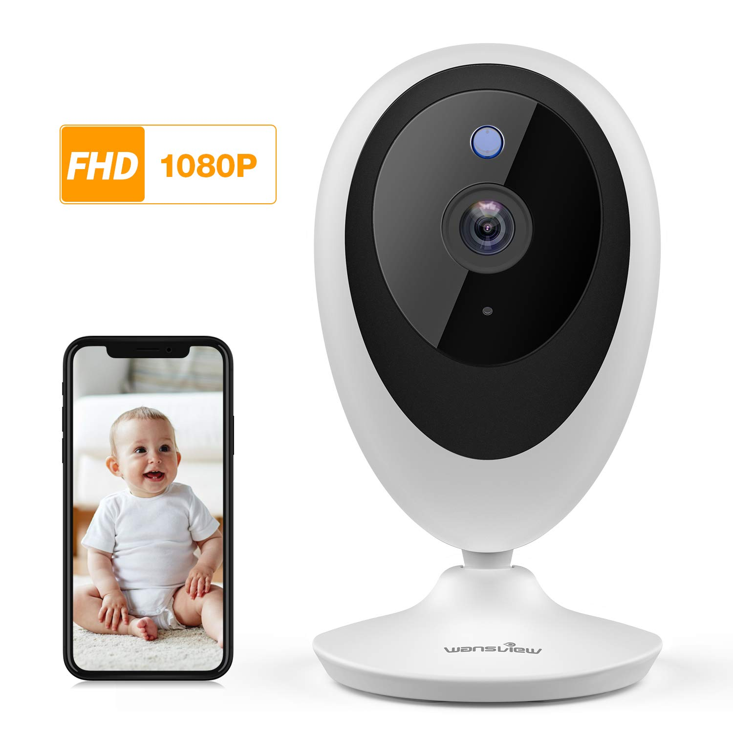 Baby Monitor, Wireless WiFi Home Security System 1080P FHD Wansview for Elder and Pet Camera with Motion Detection, 2 Way Audio, Works with Alexa, TF Card and Cloud Available K5 by wansview