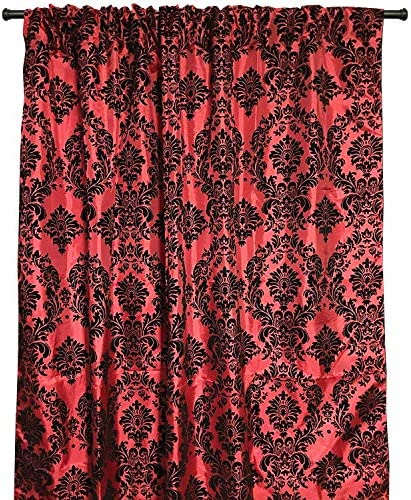 lovemyfabric Taffeta Flocking Damask Print Window Curtain Panel/Stage Backdrop/Photography Backdrop-Black on Red 2