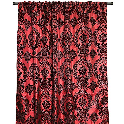 lovemyfabric Taffeta Flocking Damask Print Window Curtain Panel/Stage Backdrop/Photography Backdrop-Black on Red (1, -