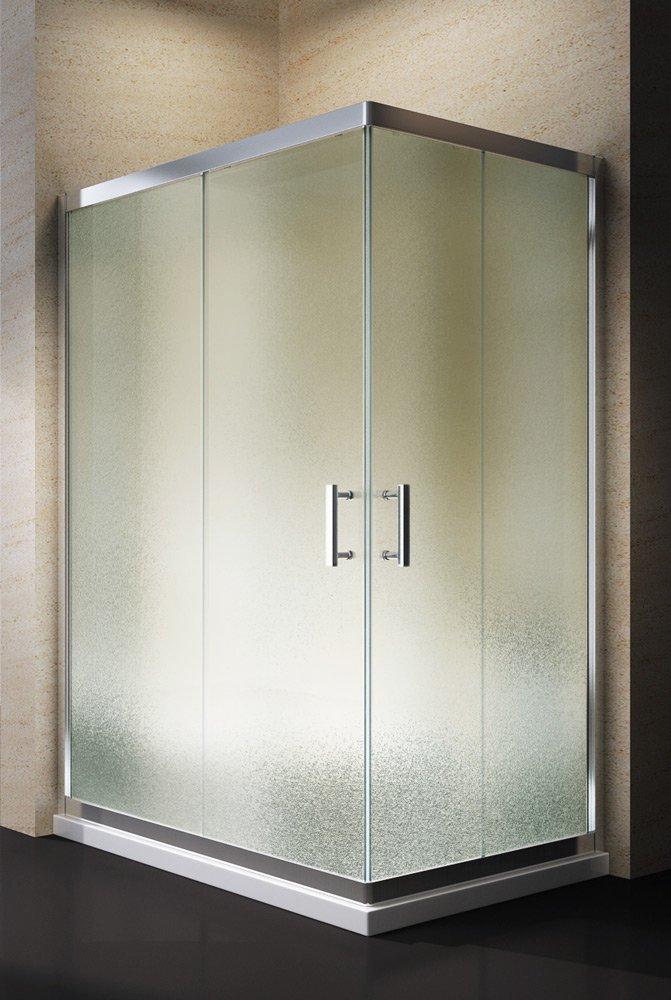 Yellowshop - Box Cabina Doccia Bagno Rettangolare, Dimensioni: 70X100 cm, Cristallo 6mm : Puntinato Opaco