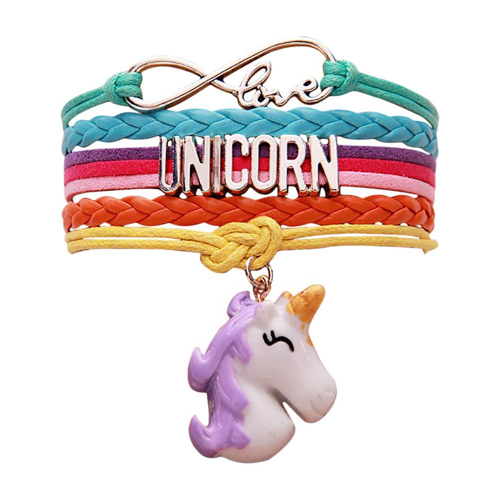 Aoruisier 1pc Multilayer Handmade Woven Bracelet Colorful Unicorn Pendant Alphabet Bracelet Lovely Jewelry For Lover Friend Gift (purple)