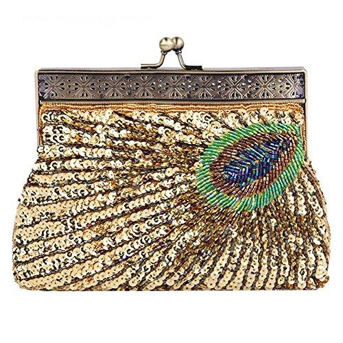 NVBAO Vintage Pavo real con cuentas de lentejuelas bolso de noche cena bolso de embrague bolsos monedero, 22 X 14 X 4 cm, blue, one size gold