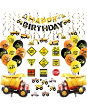 Construction Party Supplies, Dump Truck Birthday Party Decorations for Boys, with Construction Sign, Hanging Swirl, Happy Birthday Banner, Balloons, Cake Toppers - 70 Pack