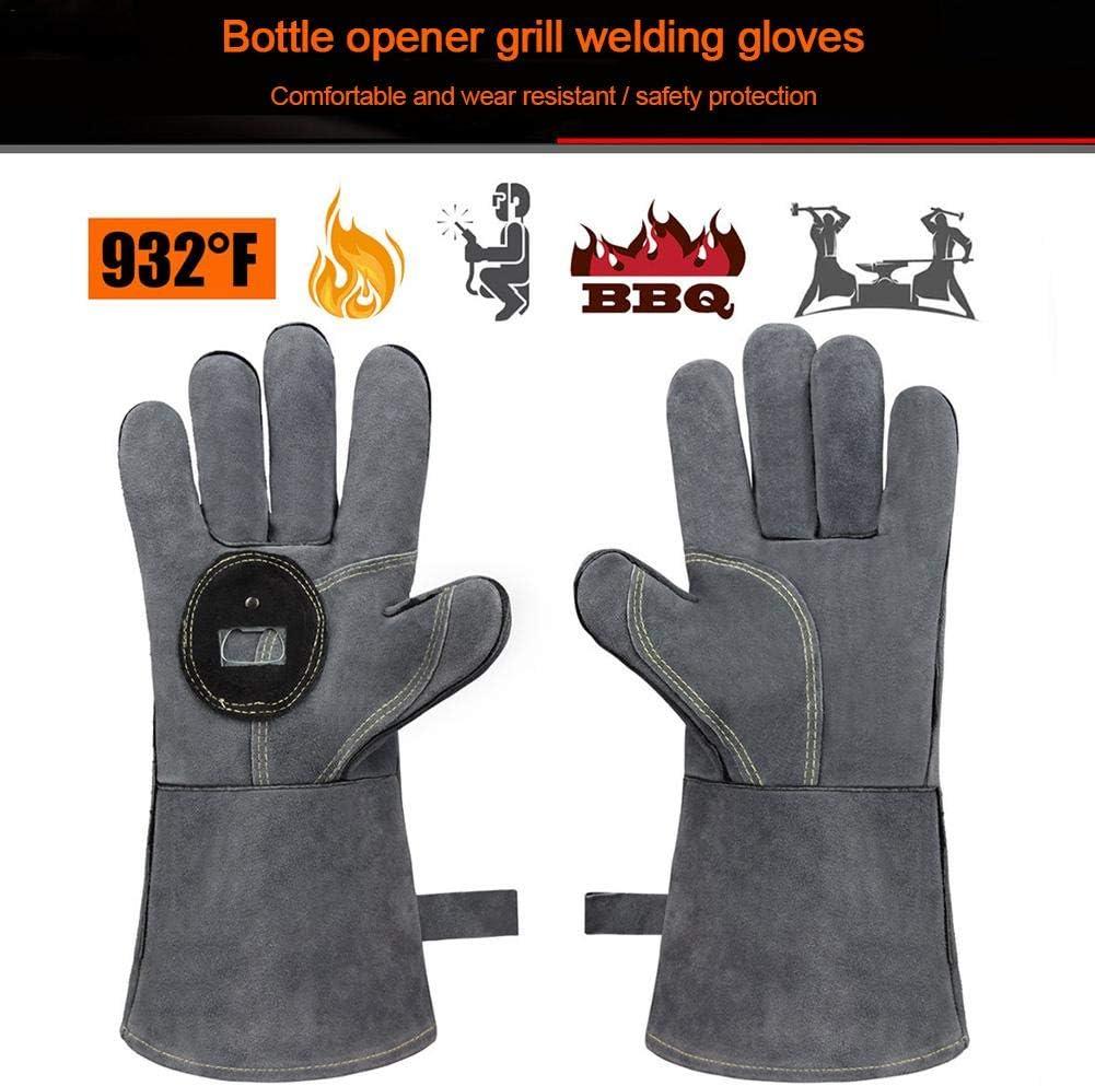 cedarfiny Gants Anti Chaleur Gants De Four pour Barbecue Gants De Soudage en Cuir Forg/é Gants De Gril R/ésistants /À La Chaleur avec Ouvre-Bouteille pour Griller La Cuisson Au Barbecue