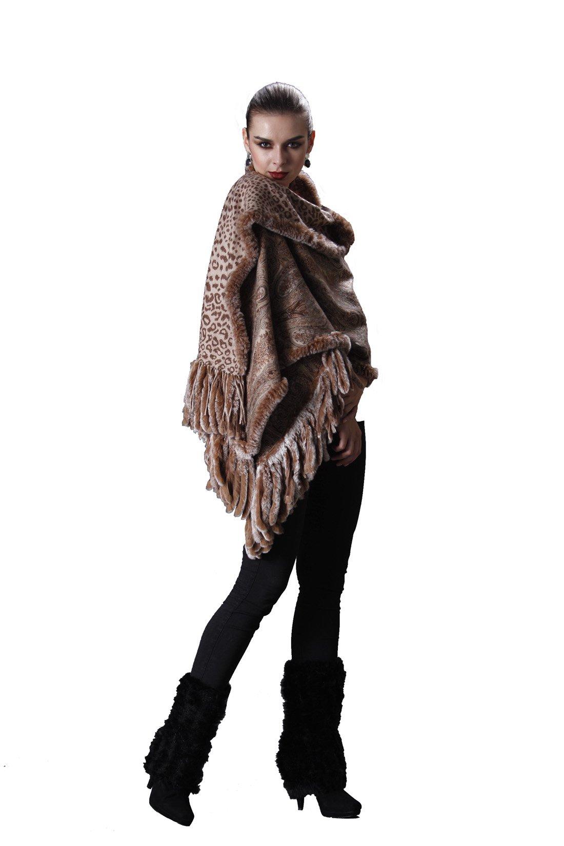 Cashmere Pashmina Group-Cashmere Shawl Scarf Wrap Stole (Solid/ Reversible Print w/ Genuine Fur) - Camel