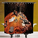 Polyester Shower Curtain 3.0 by SCOCICI [ Western,Gambler Holding a Revolver Gun Poker Cards Table Drinks Cigars Dark Saloon Decorative,Orange Brown Black ] Digital Print Polyester Fabric Bathroom Set