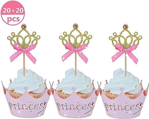 handgemachte Unicorn Cupcake Topper Dekoration mit Konfetti Ballon DEHUB Kuchen Topper Geburtstagstorte Topper f/ür Kuchen Dekorationen Blau