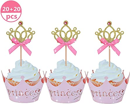 Amazon Com Jevenis 40 Pcs Glittery Princess Cupcake Toppers Crown