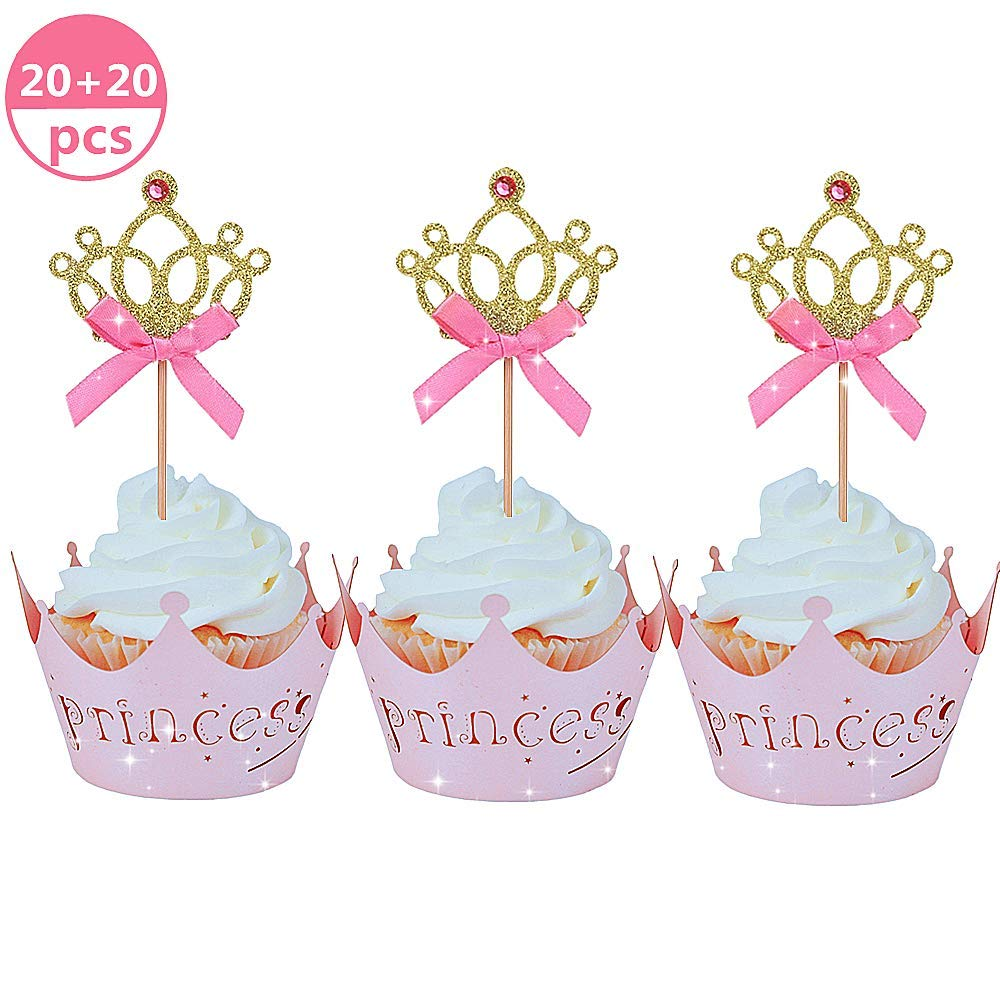 JeVenis 40 PCS Glittery Princess Cupcake Toppers Crown Cupcake Wrapper Crown Cupcake Toppers Baby Shower Cupcake Decorations for Birthday Baby Shower Party Decorations Supplies