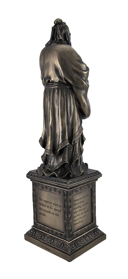 Veronese Chinese Philosopher Confucius on Engraved Pedestal Figure Unicorn Studios WU76073V1
